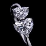 Herzring mit zwei Diamanten